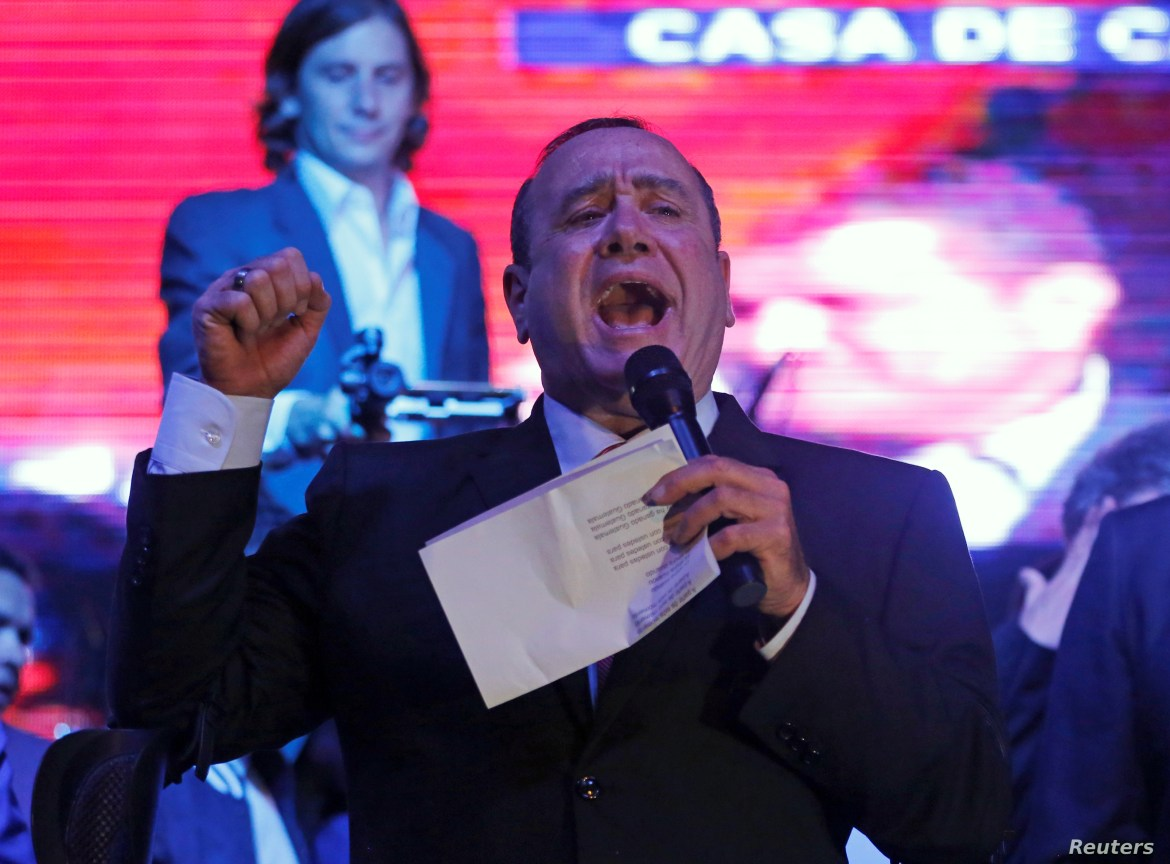 Alejandro Giammattei, presidential candidate for the Vamos political party, speaks after winning the presidential election, at his campaign headquarters in Guatemala City, Guatemala, Aug. 11, 2019.