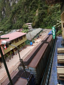 Train tracks replace roads in Aguas Calientes