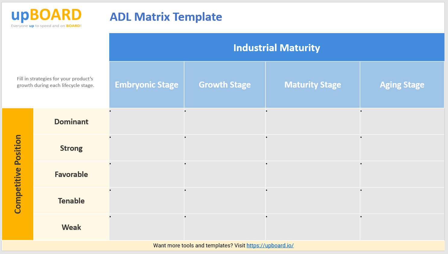 You can indicate the potential advantages of a … Adl Matrix Online Tools Templates