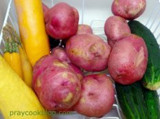 Cucumbers, Squash, Red Potatoes