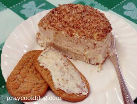 white chocolate cheese ball and crackers