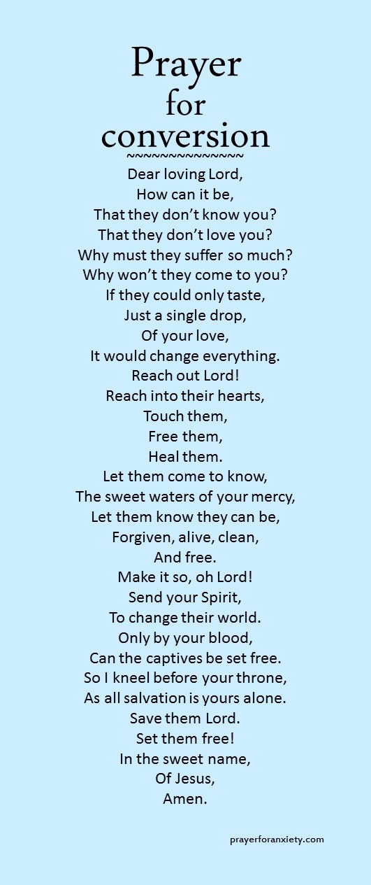 Prayer For Conversion Prayer For Anxiety
