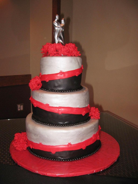 Red Black Silver Wedding Cake Wedding Cake