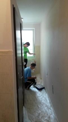 Painting bathrooms (Roma School in Kezmarok).
