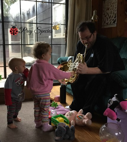 Uncle Mat showing kids French Horn Dec 2014
