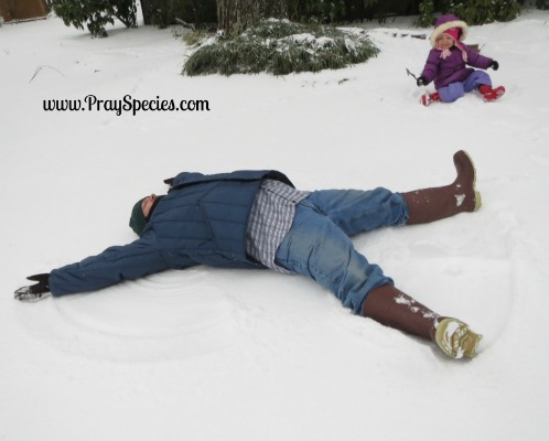 snowy day _ daddy in charge of snow angels