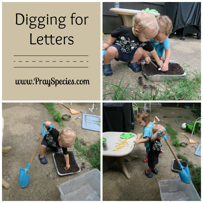 digging for letters collage