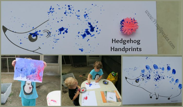 hedgehog handprints collage