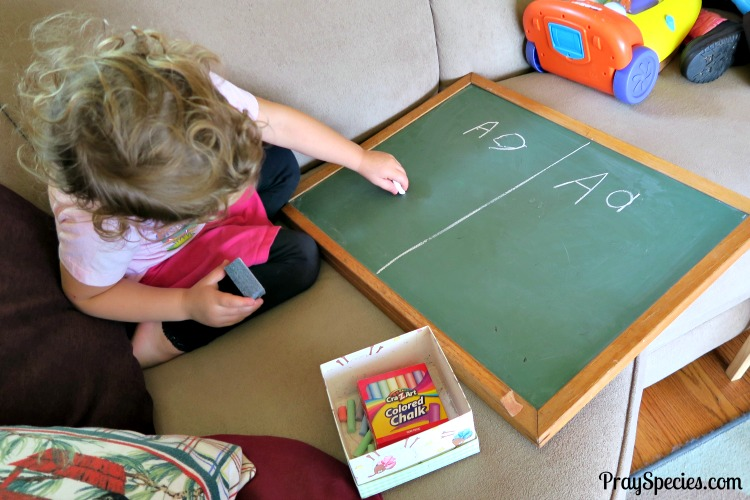 Ladybug working on writing her letters