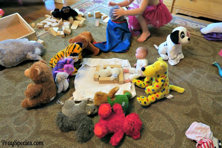 the nativity with stuffed animals