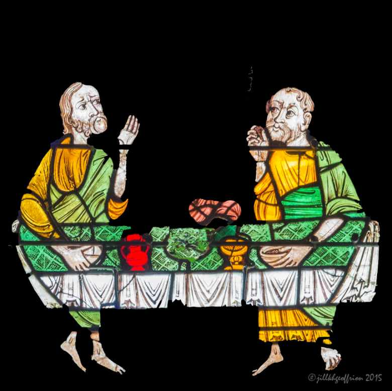Pilgrims at table, Emmaus