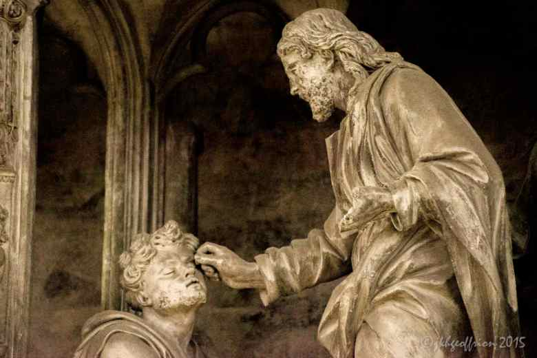 Jesus opening the eyes of the blind man, outer choir sculpture