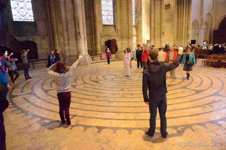 Group closing ritual at a Friday labyrinth walk by Jill K H Geoffrion