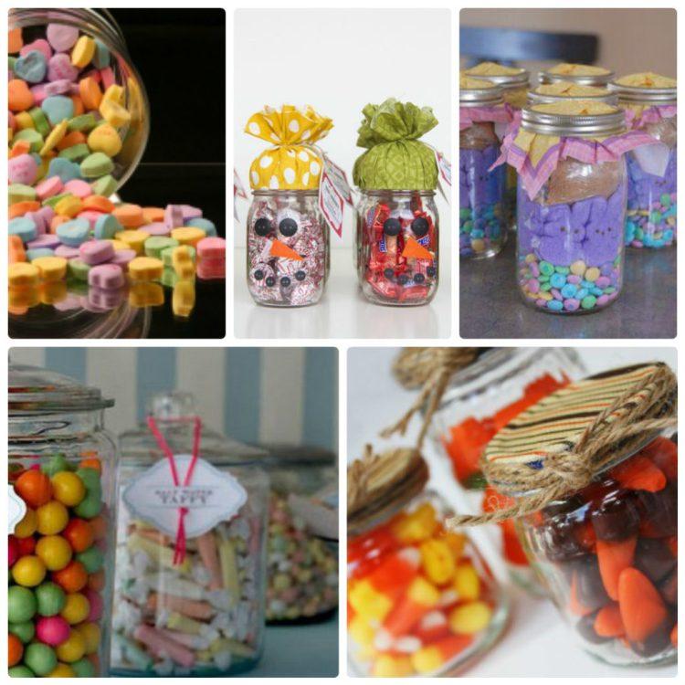 Банка с яркими конфетами