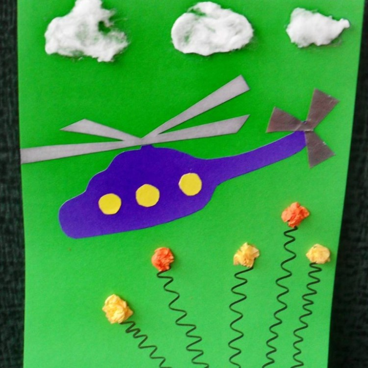 открытка с вертолетом