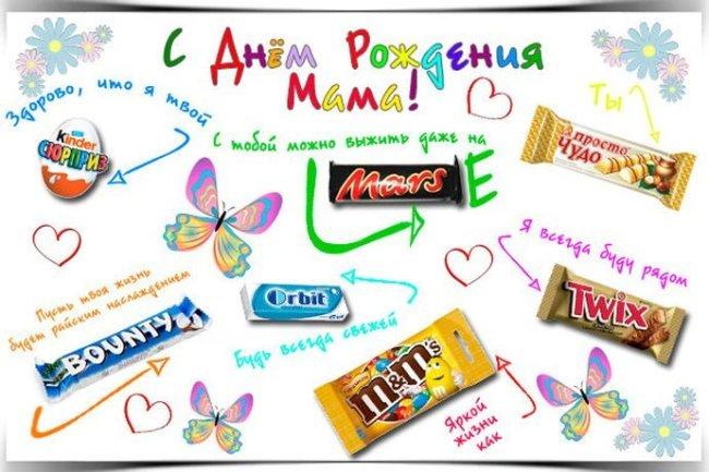 плакат со сладостями для мамы