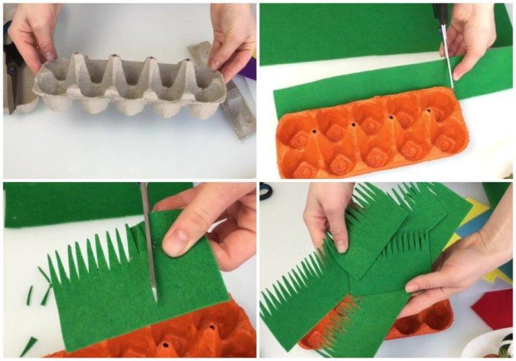 пасхальная корзинка из лотка из-под яиц