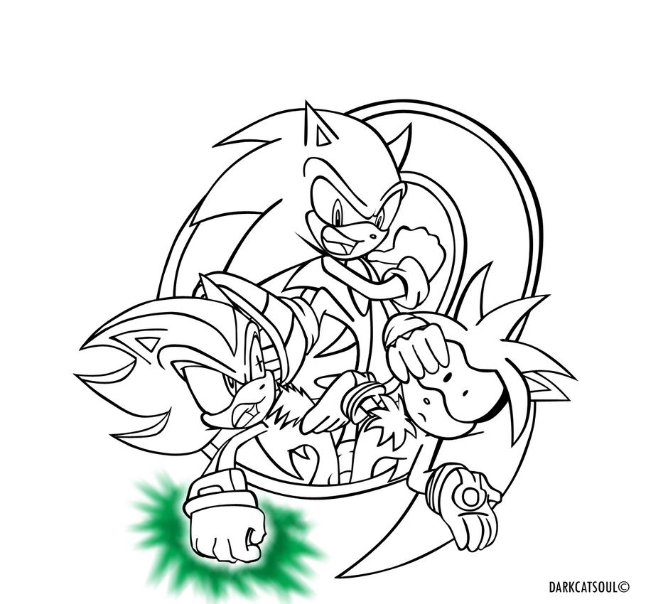 Sonic-Shadow-Silver.:lineart:. by DarkCatSoul on DeviantArt