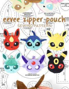 Eevee evolution zipper pouch sewing pattern by sewdesune also on deviantart rh