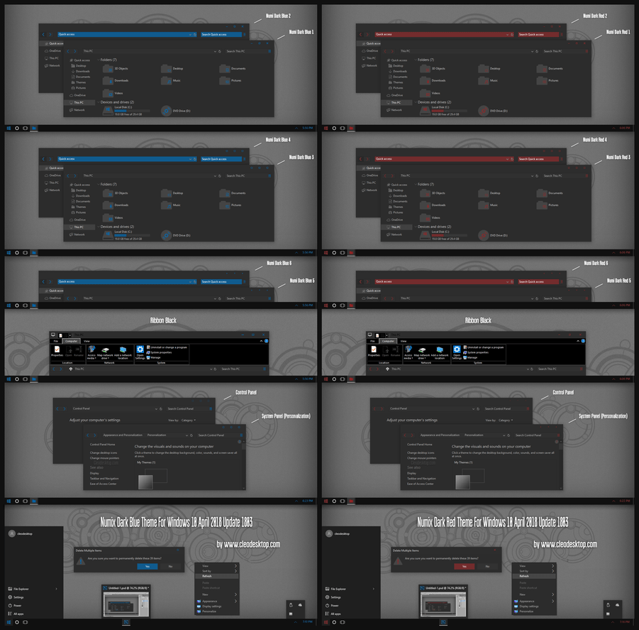 Numix Dark Blue and Red Theme Win10 April 1803 up2 by Cleodesktop on DeviantArt