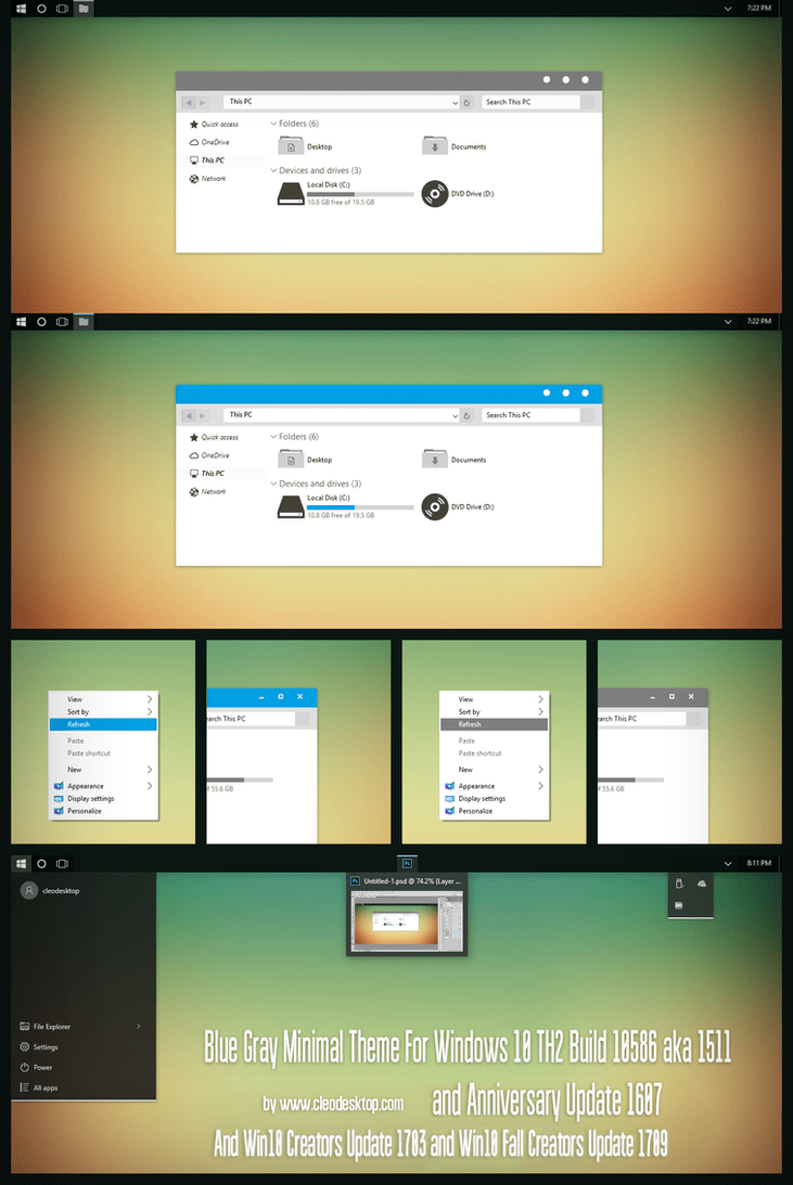 After Dark Cyan Minimal Theme For Windows 10 By - Resume