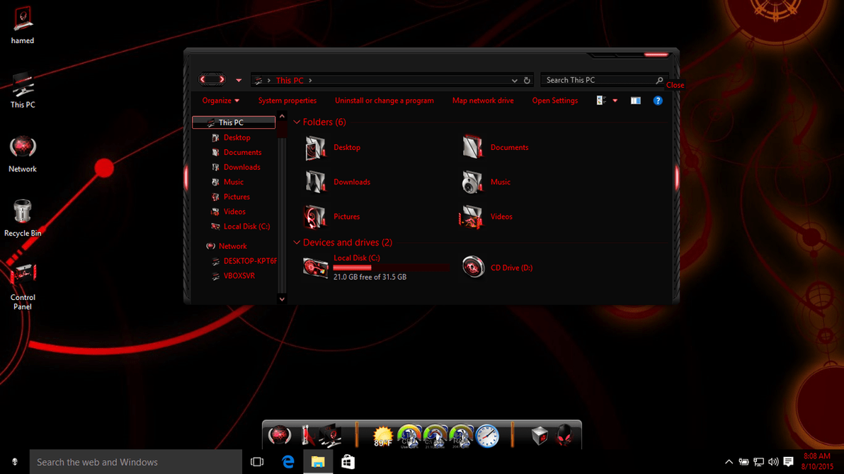Alienware red theme for win10 skin pack customize your digital world alienware red theme for win10 voltagebd Choice Image