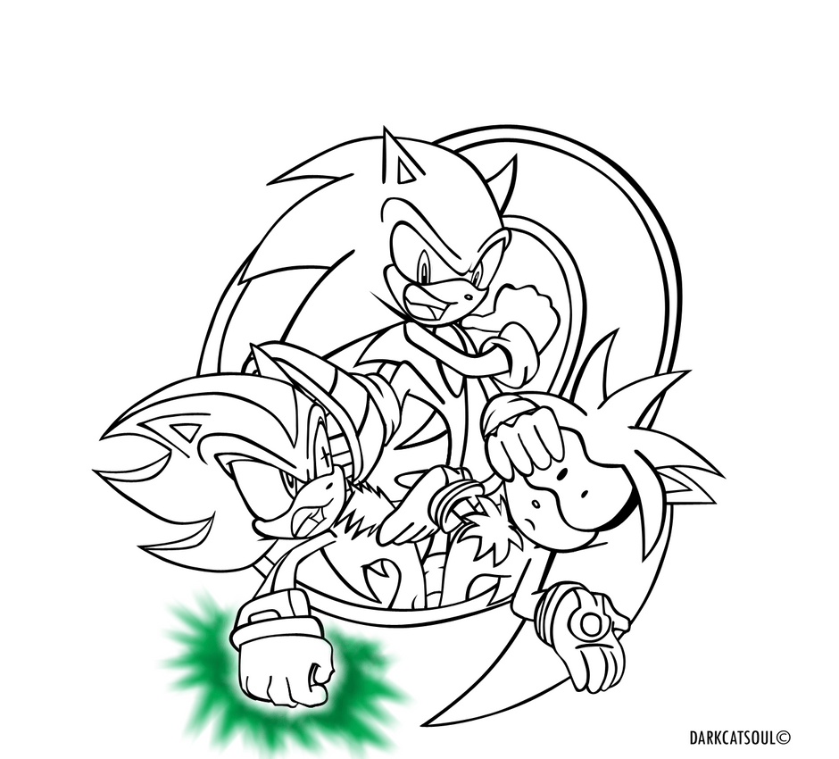 Sonic-Shadow-Silver.:lineart:. by DarkCatSoul on DeviantArt