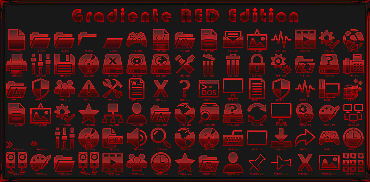 Gradiente Red IconPack for Win7/8 1/10 - SkinPack - Customize Your