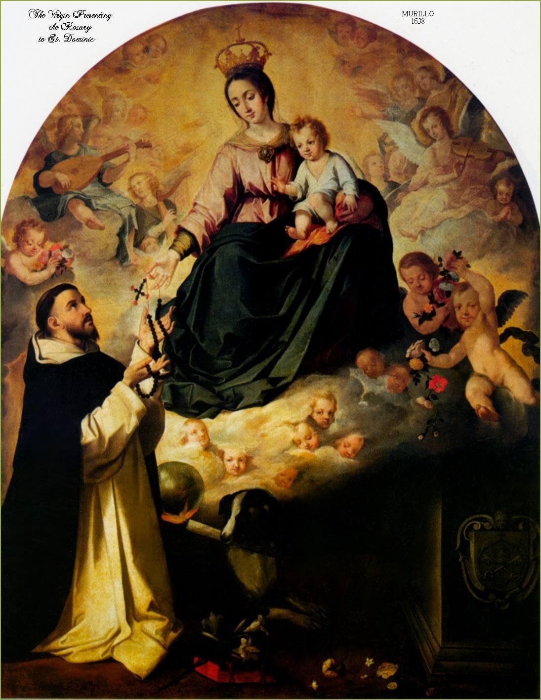 Santo Domingo Recibiendo el Santo Rosario de Maria