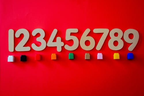 Numbers on a red background