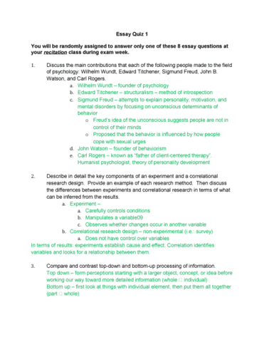 PSY 205 Quiz Essay Quiz 1 OneClass