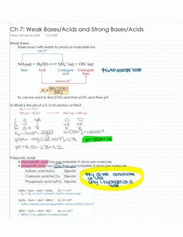 Che 2b Lecture 15 Weak Acidsweak Bases (gulacar) Oneclass