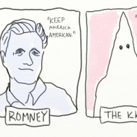 Ten minute drawing. Romney borrows slogan from the Ku Klux Klan.