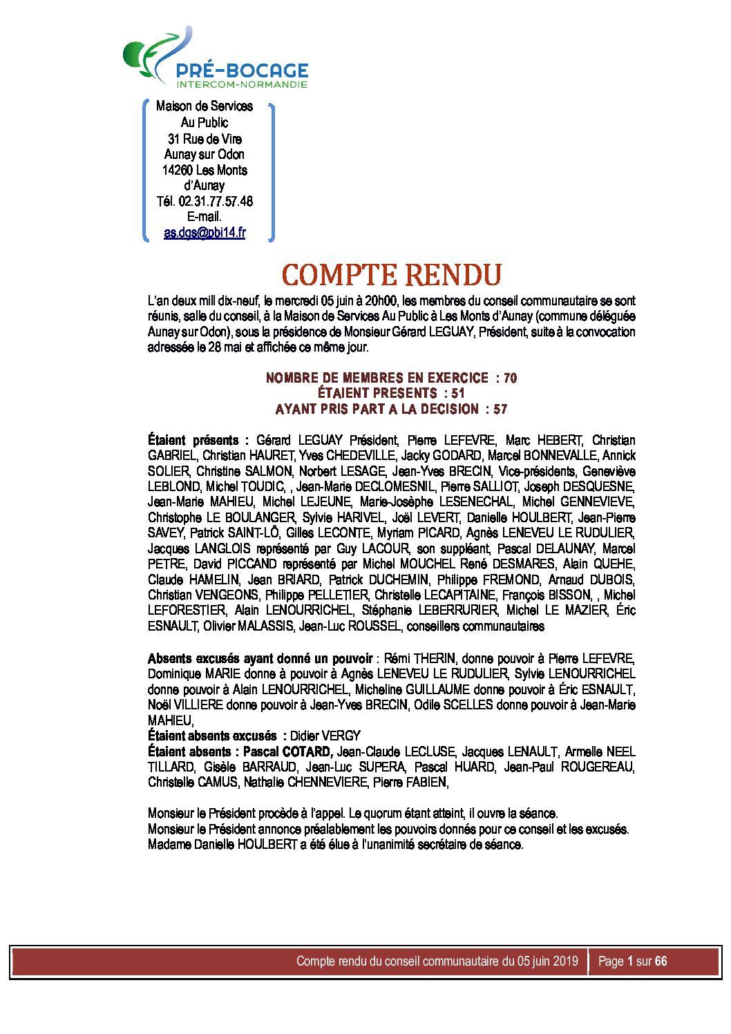 Compte-Rendu du 5 juin 2019