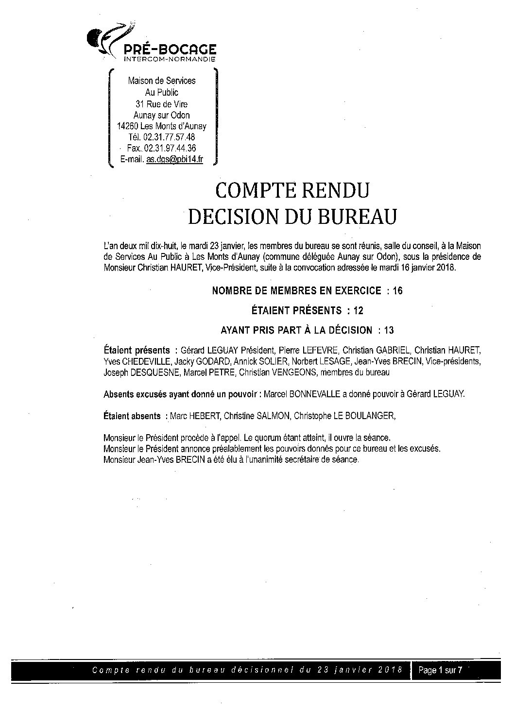 CR Bureau du 23 Janvier 2018