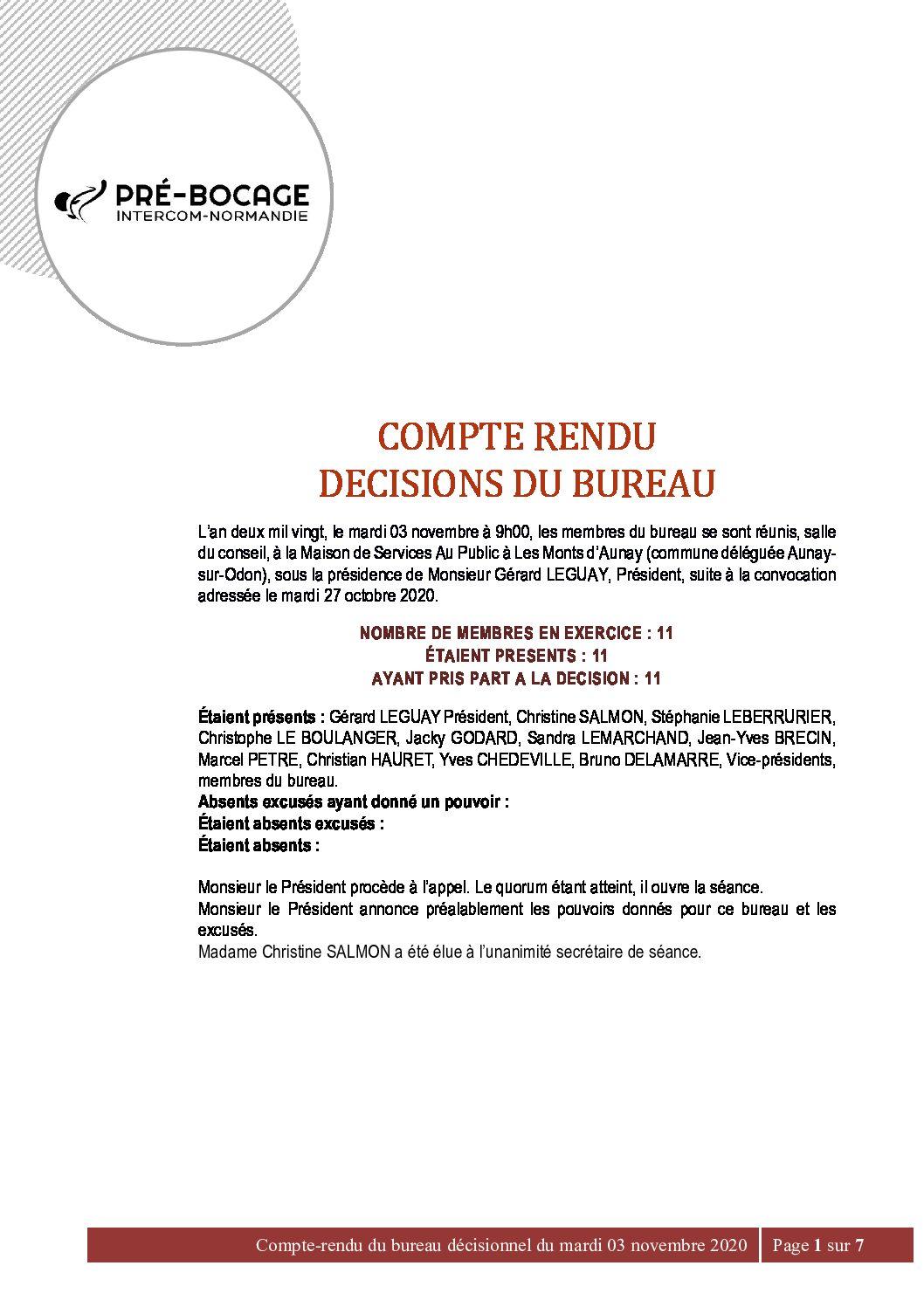 CR Bureau du 03 Novembre 2020