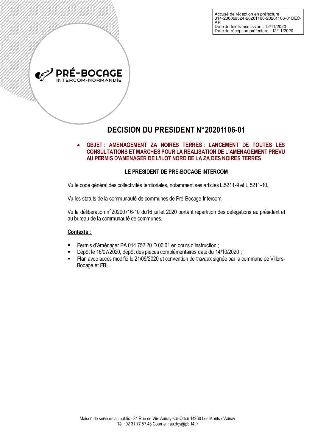 Décision déléguée du 06 novembre 2020