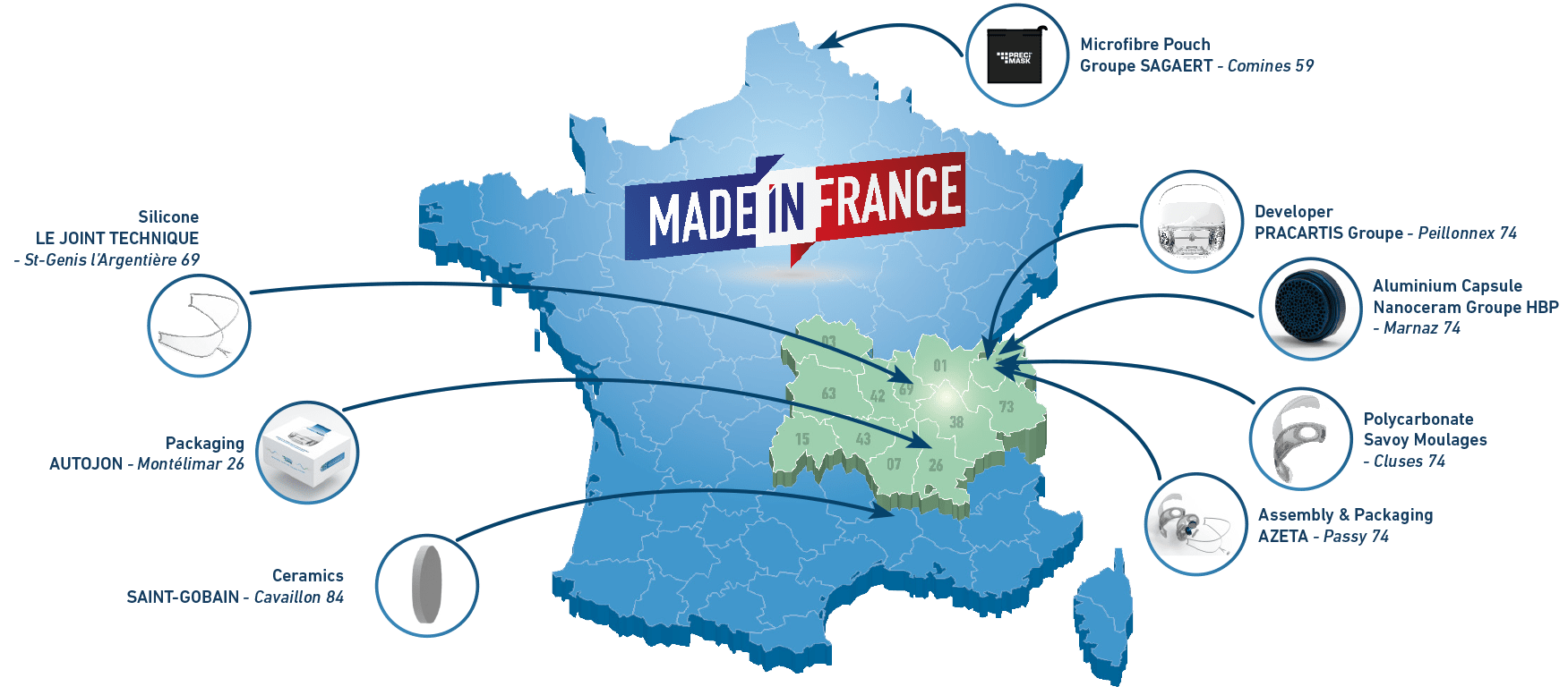 PRECIMASK - Made In France Map