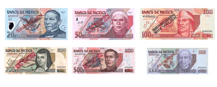 Resultat d'imatges de pesos mexianos tipos