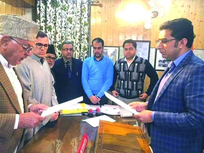 Dr Farooq files nomination papers for Srinagar parliamentary seat