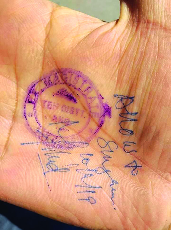 Authorities stamp permission on palm