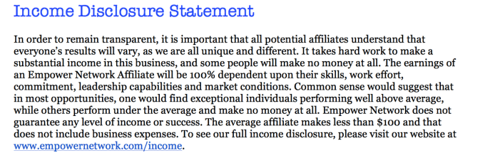 Empower Network income disclosure
