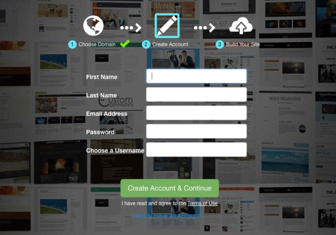 create a free website with siterubix step 2