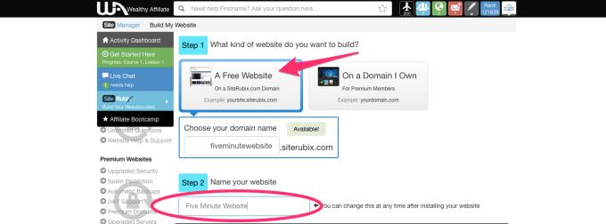 create a free website with siterubix step 3