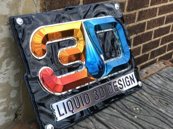 sign with chrome coating