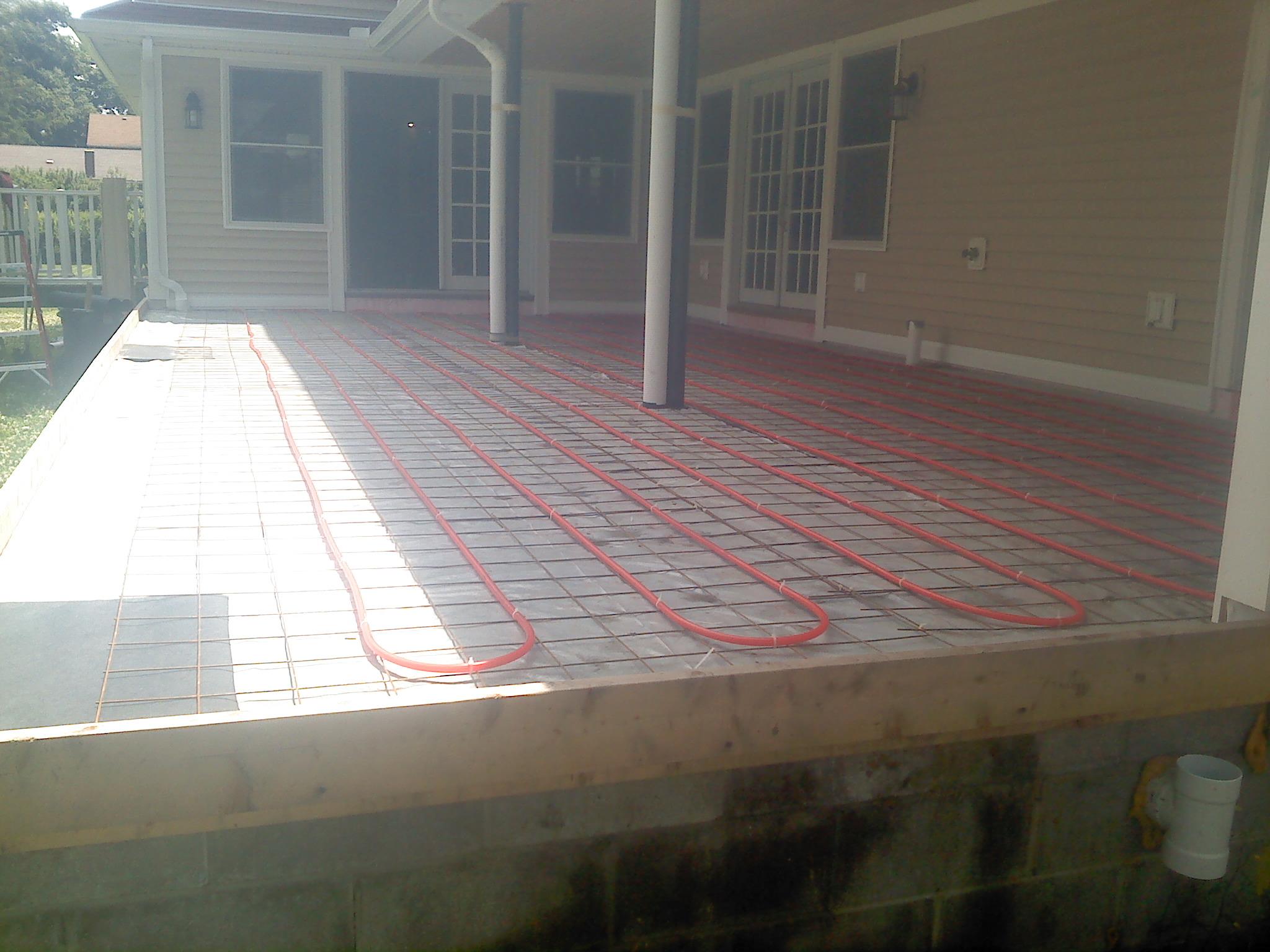 New Stamped Concrete Porch w Heated Floor Prep Work