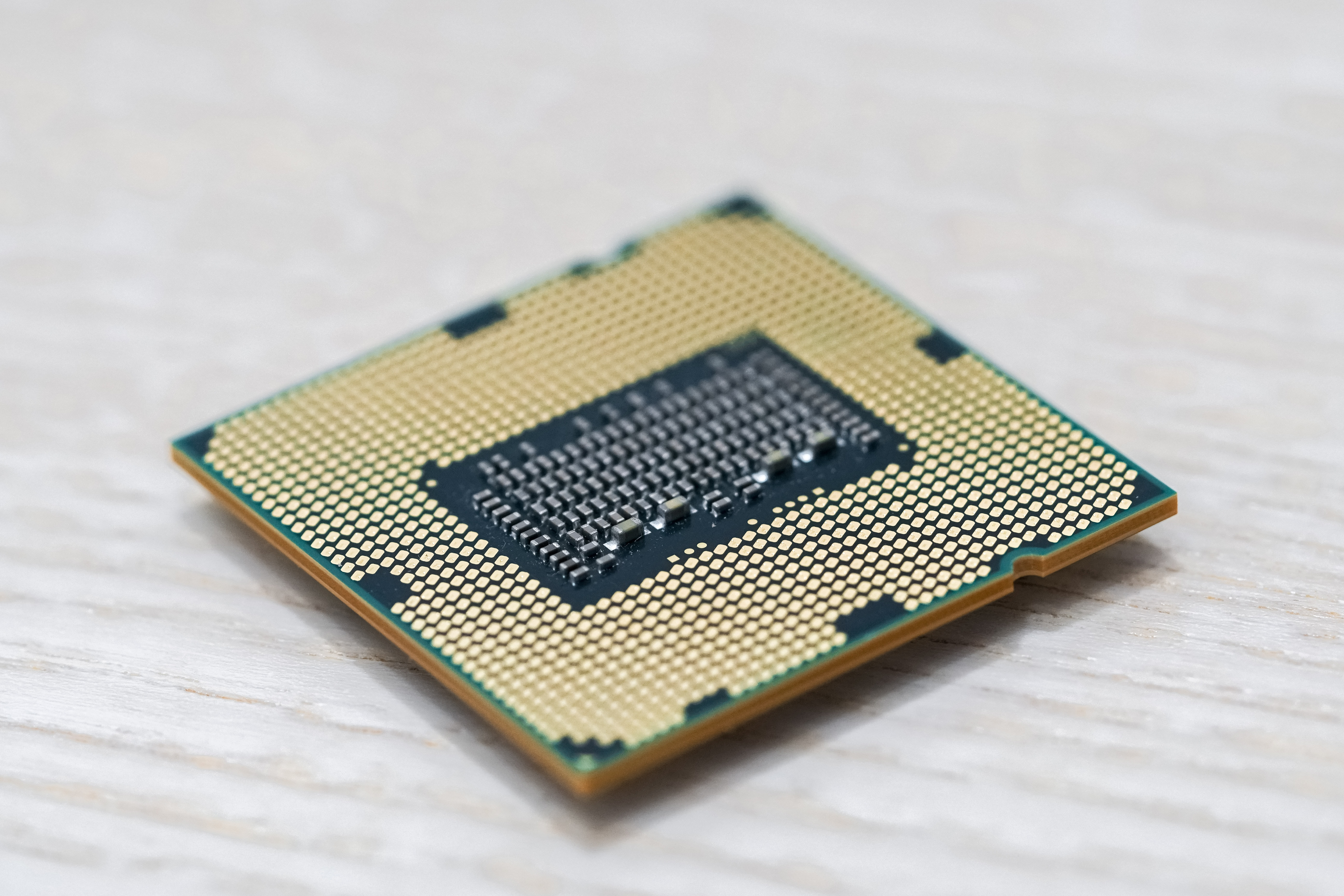 A close up of a microchip component