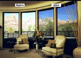 before and after residential window tinting