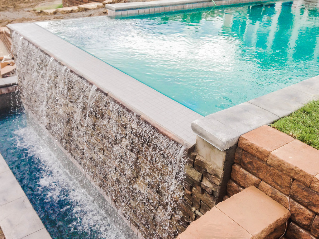 inground pool, Rochester, gunite, waterfall, Precision Pool and Spa
