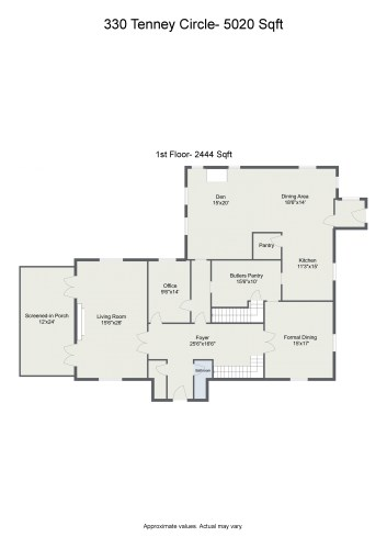 Floorplan letterhead - 330 Tenney Circle- 5020 Sqft - 1st Floor- 2444 Sqft - 2D Floor Plan